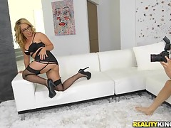Hunter suggested that she slip her panties to the side and Stevie did much more. She started to masturbate and signaled Hunter to go over and help her out. Hunter stuffed her mouth with his hard cock and soon after, he relentlessly fucked her pussy all ov