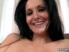 Cock hungry curvaceous milf gets her pretty face spunked.