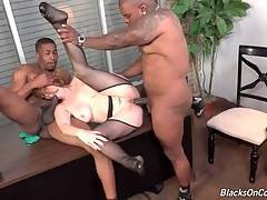 Breasted Mature Slut Enjoys Interracial Threesome 2