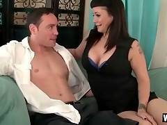 Curvaceous brunette milf is tempting her cute step son.