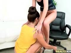 Slutty milf makes her girlfriend get wet by licking her cunt.