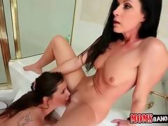 Pretty milf and sweet young chick take turns getting fucked.