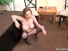 Kiki Daire gets her pussy and face spunked by black guys.